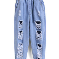 Elastic Waist Ripped Denim Beam Port Pale Blue Pant