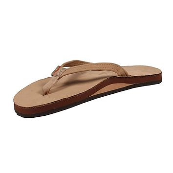 Women's Thin Strap Premier Leather Single Layer Arch Sandal in Sierra Brown by Rainbow Sandals