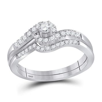 10kt White Gold Women's Round Diamond Swirled Bridal Wedding Engagement Ring Band Set 5/8 Cttw - FREE Shipping (US/CAN)