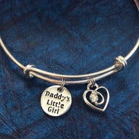 Daddy's Little Girl on a Silver Expandable Adjustable Bangle Charm Bracelet (Kid's Size Available upon request)