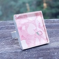 Vintage floral wallpaper silver-plated ring