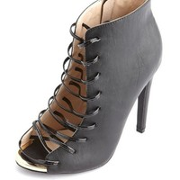 Lace-Up Snakeskin Heel Bootie: Charlotte Russe