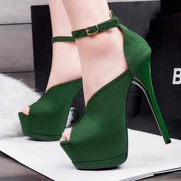 Fashion Rome Style Women's Shoes High Heels 14.5cm Sexy Buckle Platform Female Party Pumps 6 Colors Peep Toe