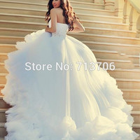 Vestido De Noiva Luxury One Shoulder Beaded Bridal gown Fast Shipping Cathedral Train Long Tail Wedding Dresses