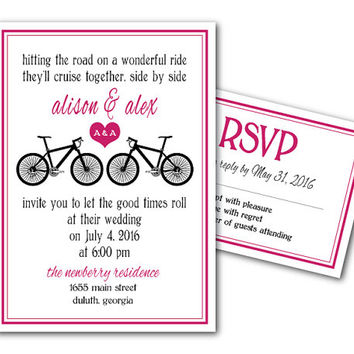 Printable Wedding Invitation Template and RSVP Card - Printable File - DIY invites - Two Bikes - hitting the road on a wonderful ride...