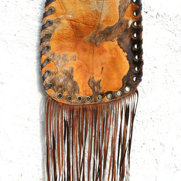 Cow leather rusted color animal leather longe fringe bag messenger crossbody gypsy gypset hipppie festival purse woodstock bag boho vintage