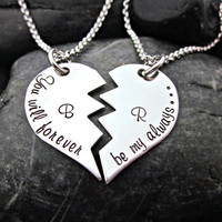 You Will Forever Be My Always - Couple's Necklace Set -  Initials - Interlocking Broken Heart