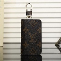 LV Fashion Leather Zipper Car Key Wallet Case Cover Coffee I
