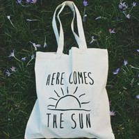 UNOFFICIAL Beatles inspired lyric 'here comes the sun' and 'twist and shout' canvas tote bag