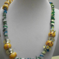 Black Friday Cyber Monday Teen Trendy Jewelry Necklace Ladies Necklace yellow Lampwork Beaded Necklace Womans Bracelet Ladies Jewelry