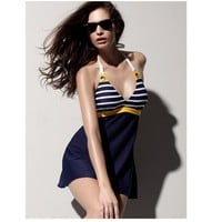 Comfortable Sexy High Quality Summer Navy Ladies Slim Plus Size Swimwear [6048395585]