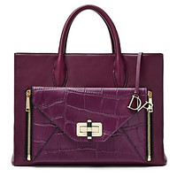 Secret Agent Large Leather and Croc Tote