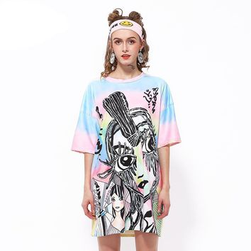 Abstract Girl Oversized Tee