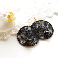 Elegant embroidered black lace earrings with black glass pearls. FREE WORLDWIDE SHIPPING