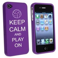 Apple iPhone 4 4S Purple Rubber Hard Case Snap on 2 piece Keep Calm and Play On Volleyball