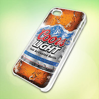 Coors Light bottel design for iPhone 5 White Plastic Case - leave message for Black Case / iPhone 4 or iPhone 4S Case