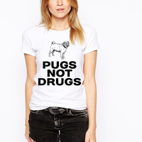 Pugs Not Drugs Tshirt - Dog Lovers - Funny Dog Shirt - Pug T Shirt