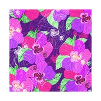 Purple Hibiscus - Wrapped Canvas Canvas Print