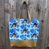 Blue Candy Hearts Custom Printed Canvas Tote Bag With Vinyl Accent