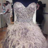 Luxurious Crystal Beaded Cocktail Dresses With Feathers vestidos Actual Images Party Gowns Short Prom Dress Homecoming Dress