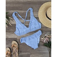 Final Sale - Halter Crochet Set with Ruched Bottom in Blue