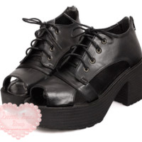 Sweet Soul Shop | Grunge Lace Up Peep-Toe Platforms | Online Store Powered by Storenvy