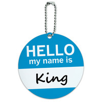 King Hello My Name Is Round ID Card Luggage Tag