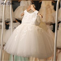 Aini Babe High Quality White First Communion Girl Dresses Tulle Lace Infant Toddler Girl Clothes Pageant Baptism Birthday Party