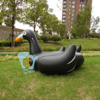 60 Inch 1.5m Giant Inflatable Black Swan Pool Floats Ride on Black Duck Beach Water Pool Toy for Kids and Adult
