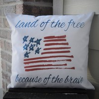 Land of the Free Patriotic pillow cover