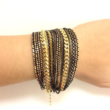 Black Gold chunky chains Bracelet
