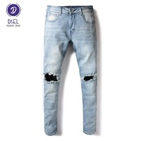 European High Street Fashion Mens Jeans Light Blue Youth Style Knee Hole Ripped Jeans Men DSEL Brand Stretch Skinny Jeans Pants