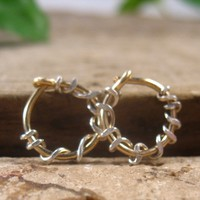 Hoop Earrings Gold with Silver Squiggles