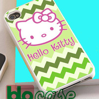 Hello Kitty On Green Chevron For Iphone 4/4s, iPhone 5/5s, iPhone 5C, iphone 6, and iPhone 6 Plus Case