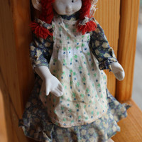 Very Old Porcelain Doll Red Hair Collectible, Home Decor