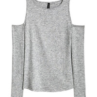 Ribbed Open-shoulder Top - from H&M