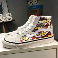 VANS SK8-HI high-top men and women shoes lovers shoes F-CQ-YDX White