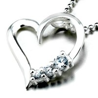 Pugster Transparent Crystal Heart Pendant Necklace For Women