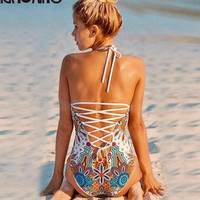Sexy orange colorful print back white cross hollow one piece bikini show thin