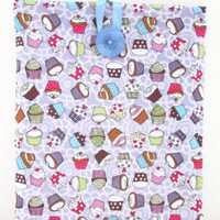 Fabric Ipad tablet sleeve , Purple lilac cupcake fabric padded tablet cover , UK seller