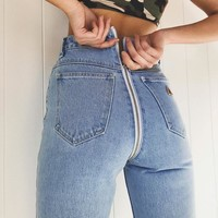 High Waisted Back Zipper Jeans