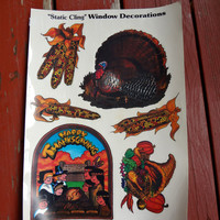 Vintage Thanksgiving Window Cling Decals 1991 Never Been Used Reusable