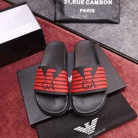 Armani Red Black Flat Slippers Flip Flops Casual Men Comfortable Shoes