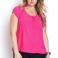 FOREVER 21 PLUS Flutter Sleeve Woven Top Hot Pink