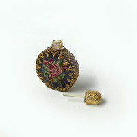 Vintage 1950s brass filigree petit point perfume bottle