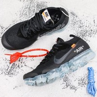 Off-White x Nike Air VaporMax Black/Total Crimson-Clear Running Shoes - Best Deal Online