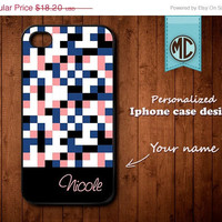 20% OFF SALE Personalized iPhone Case - Plastic or Silicone Rubber Monogram iPhone 4 4S Case Cover - K103