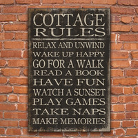 Wooden subway style cottage rules sign. Handmade.  Approx. 24x36x3/4inches