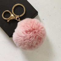 New! Frosted light pink Fur pom pom keychain fur ball bag pendant charm