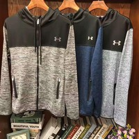 Under Armour Fashion Casual Splicing Long Sleeve Sport Zipper Hooded Sweater G-G-JGYF